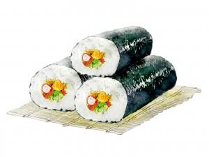 恵方巻は、幸運が今年の方角から巻き寿司の中を通り体に入る