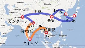 仏教はインド、中国、朝鮮半島を経て日本に伝来しました