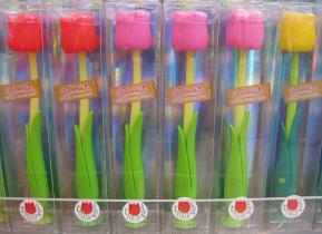 チューリップ歯ブラシが茎と葉っぱのデザインでグッド