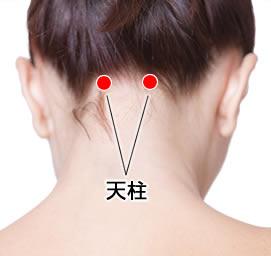 首後ろの髪の生え際を両手で頭を支えるよう押すのです