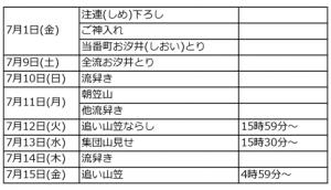 博多祇園山笠の日程は毎年必ず同じ日に決まっています